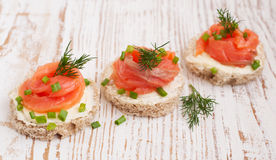 Canapes with  salmon Royalty Free Stock Images