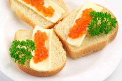 Canapes with salmon caviar Stock Photo