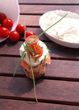 Canapes with salmon and cheese. Close up of bread with slamon, tomatos and cheese Royalty Free Stock Photography