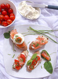 Canapes with salmon and cheese. Close up of bread with slamon, tomatos and cheese Stock Photos