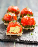 Canapes with salmon and curd cheese Royalty Free Stock Photography