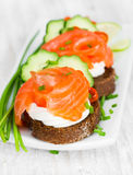 Canapes with salmon, onion and cucumber Stock Photography