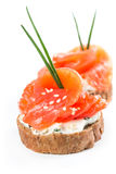 Canapes with salmon and onion Royalty Free Stock Photo