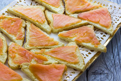 Canapes with salmon Stock Images