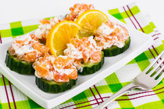 Canapes with salmon Stock Image