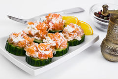 Canapes with salmon Royalty Free Stock Photo