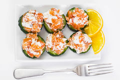 Canapes with salmon Royalty Free Stock Photography