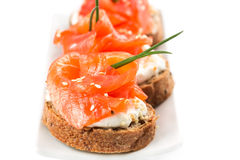 Canapes with salmon Royalty Free Stock Image