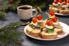 Canapes with salted herring, cheese, quail eggs and cherry tomatoes on rye croutons stock image