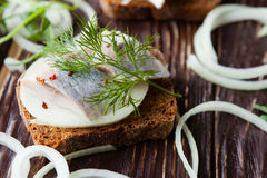 Canapes with salted herring Royalty Free Stock Photos