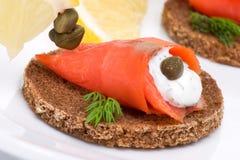 Canapes saumonés sauvages Images libres de droits