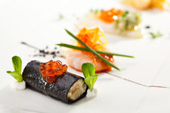 Canapes. Seafood Canapes - Crabmeat, Shrimps and Squid Stock Photo