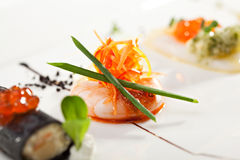 Canapes. Seafood Canapes - Shrimp with Carrots and Onions Royalty Free Stock Photo