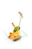 Canapes. Seafood and Vegetables Canapes over White Stock Photo