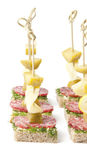 Canapes on skewers. Very tasty canapes on skewers Royalty Free Stock Image