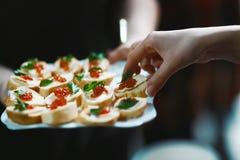 Canapes smörgåsar med kaviarlaxen på fyrkantiga smällare på en vit platta som fördjupa en hand till smak royaltyfri bild