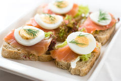 Canapes with smoked salmon Stock Image