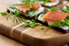 Canapes with smoked salmon Stock Photography