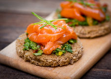 Canapes with smoked salmon Royalty Free Stock Images