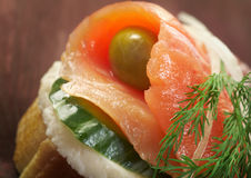 Canapes with smoked salmon Stock Images