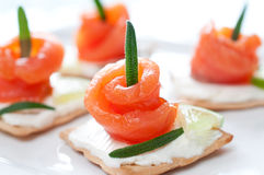 Canapes with smoked salmon and cream cheese Royalty Free Stock Images