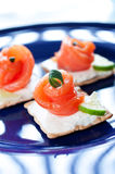 Canapes with smoked salmon and cream cheese Royalty Free Stock Image