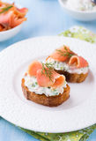 Canapes with smoked salmon and cream cheese Stock Image