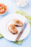Canapes with smoked salmon and cream cheese Royalty Free Stock Photos