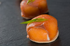 Canapes with smoked salmon and cream cheese Royalty Free Stock Photography