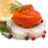Canapes with smoked salmon with lemon Stock Image