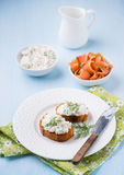 Canapes with soft cheese spread on white plate Stock Images
