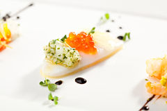 Canapes. Squid Canapes with Salmon Roe and Greens Sauce Stock Photography