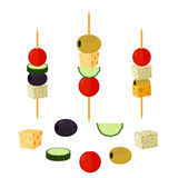 Canapes, tapas in flat style. Buffet, restaurant food, appetizer. Canapes, tapas made in cartoon flat style. Made for buffet, restaurant food, appetizer, snack Royalty Free Stock Photos