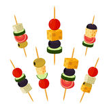 Canapes, tapas in flat style. Buffet, restaurant food, appetizer Royalty Free Stock Photography