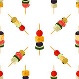 Canapes, tapas seamless pattern. Made in cartoon flat style. Stock Image