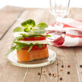 Canapes with tomatoes and mozzarella Stock Photo