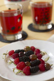 Canapes. Useful and tasty berries dessert Stock Image
