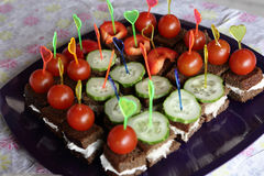 Canapes with vegetables Royalty Free Stock Photography