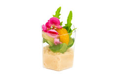 Canaps with edible flowers Royalty Free Stock Images