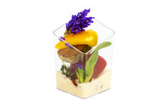 Canaps with edible flowers Stock Photos