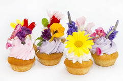 Canaps with edible flowers Stock Photography