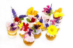 Canaps with edible flowers Royalty Free Stock Photography