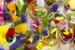 Canaps with edible flowers Stock Images