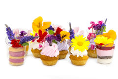 Canaps with edible flowers Stock Image