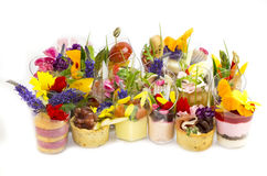 Canaps with edible flowers Royalty Free Stock Photos