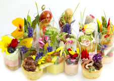 Canaps with edible flowers Royalty Free Stock Image