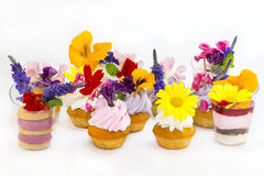 Canaps with edible flowers Royalty Free Stock Photo