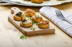 Canap�s puff pastry Stock Images