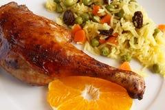 Canard avec du riz Images libres de droits