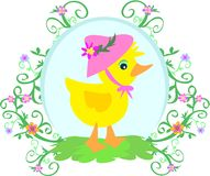 Canard avec le chapeau, les fleurs, et les vignes illustration stock